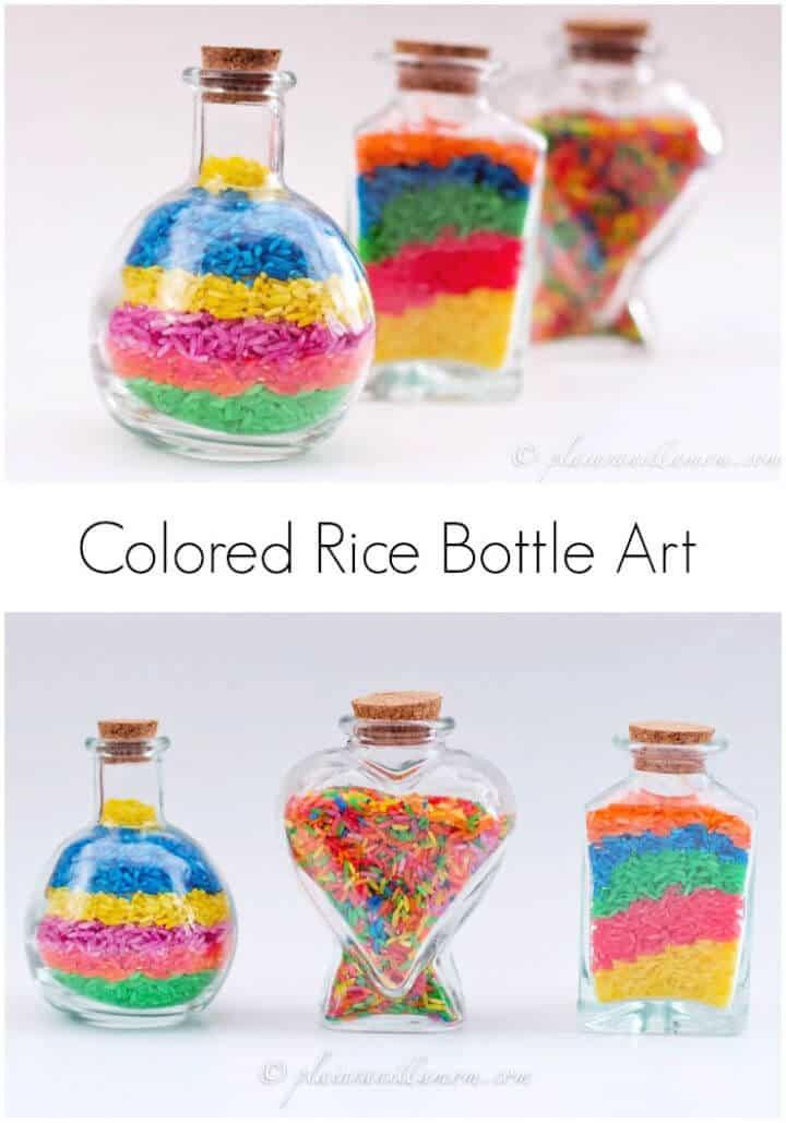 Arte de botella de arroz de colores de bricolaje
