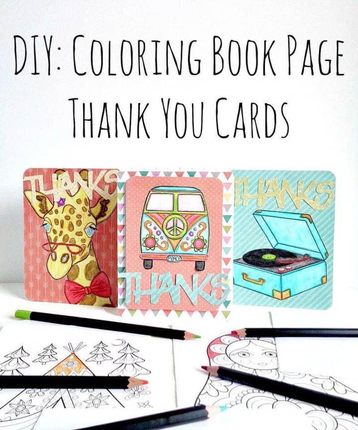 Libro de colorear de bricolaje tarjetas de agradecimiento
