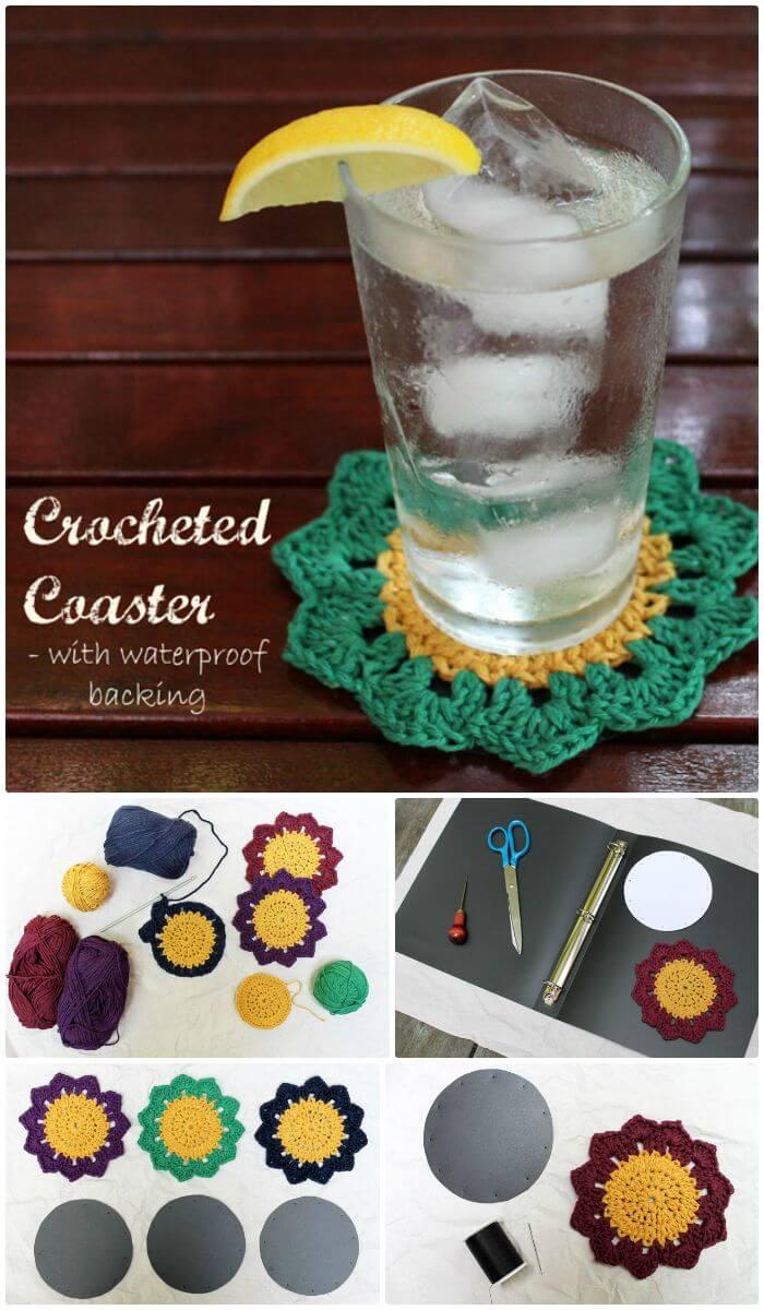 Posavasos de ganchillo coloridos de bricolaje con respaldo impermeable, patrones de posavasos de ganchillo fáciles y gratuitos para los amantes del ganchillo.  ¡Posavasos de crochet excepcionales para principiantes!