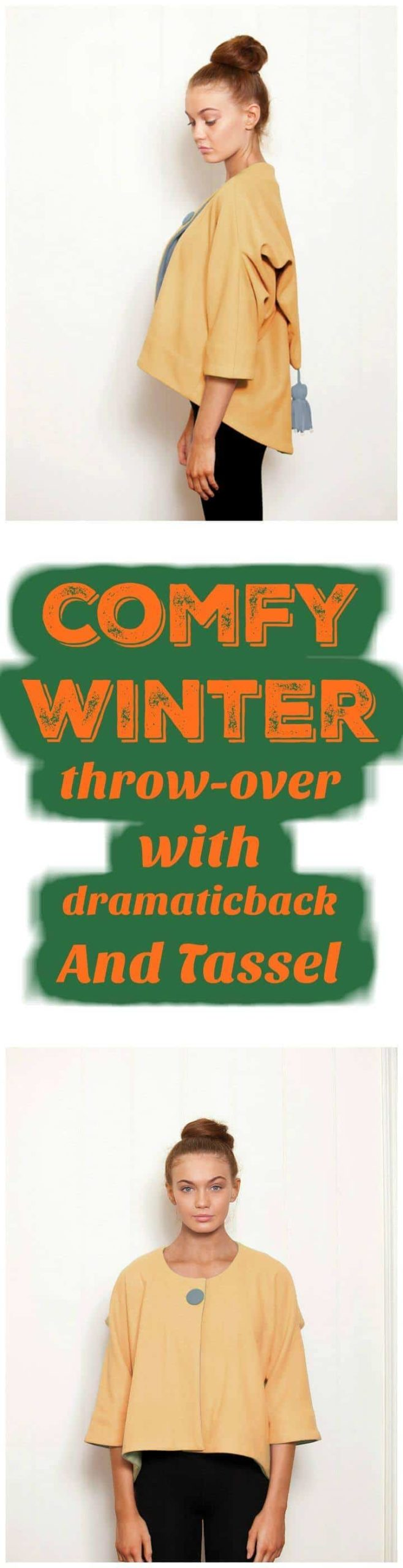 manta cómoda de invierno con espalda dramática y borla