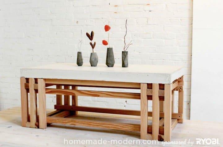 Mesa de centro de hormigón + madera de bricolaje