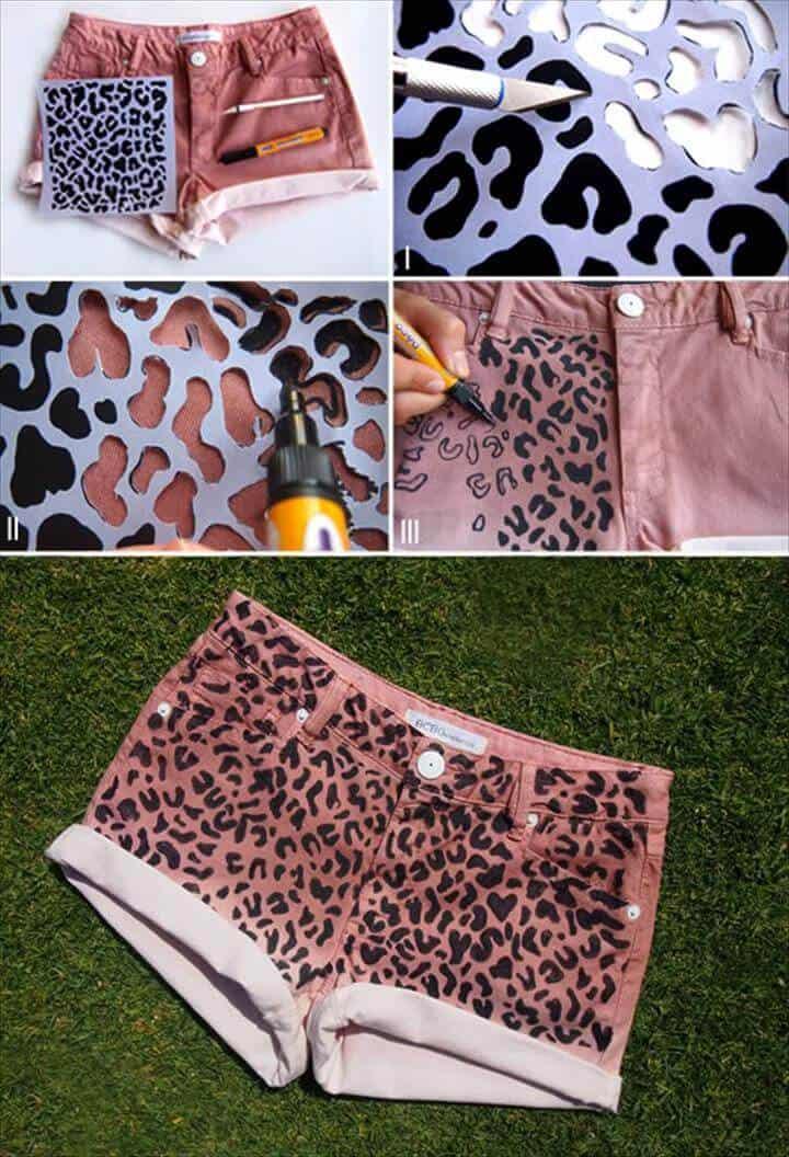 Pantalones cortos de leopardo de bricolaje