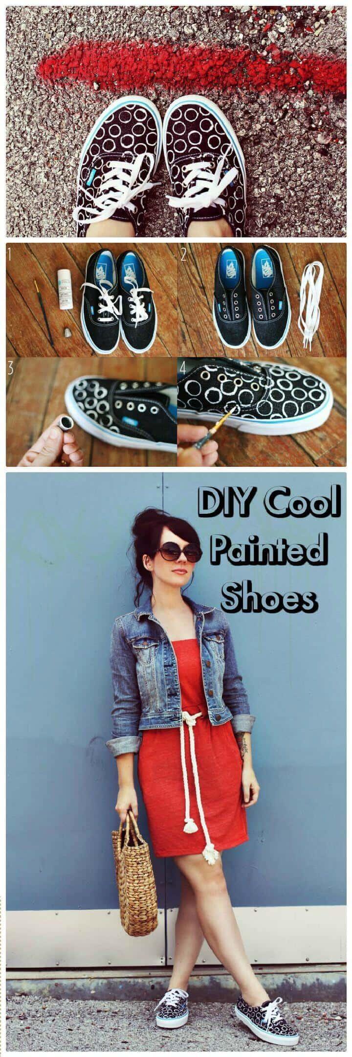 Zapatos pintados frescos de bricolaje