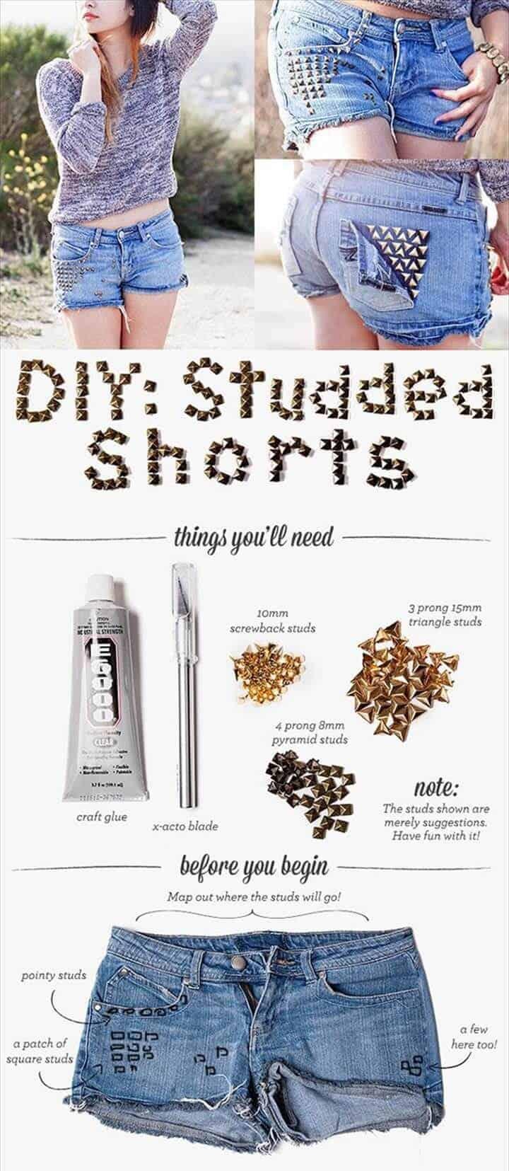 Pantalones cortos con tachuelas de bricolaje para niñas