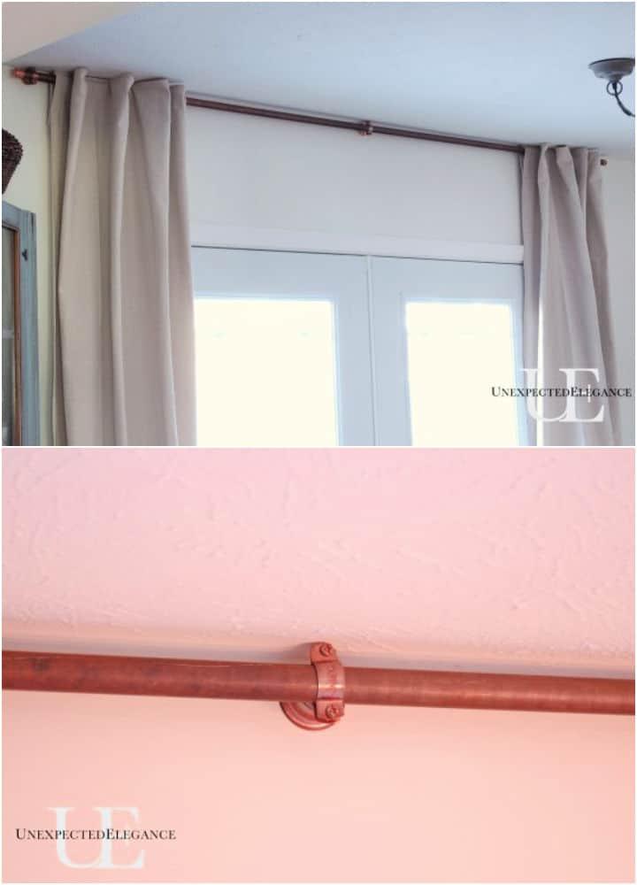 Barra de cortina de cobre de bricolaje para mis puertas francesas
