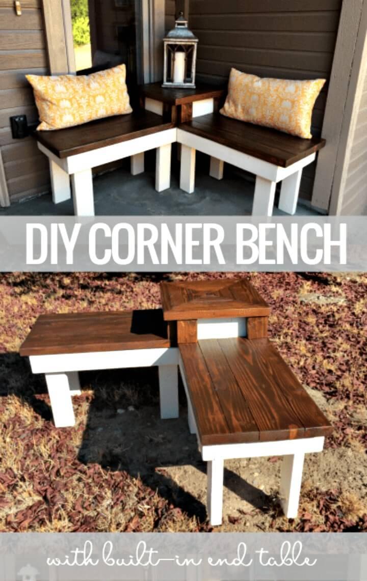 Haga un banco de esquina con mesa incorporada - Ideas de muebles de jardín de bricolaje