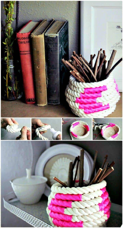 DIY crea una cesta de cuerda enrollada