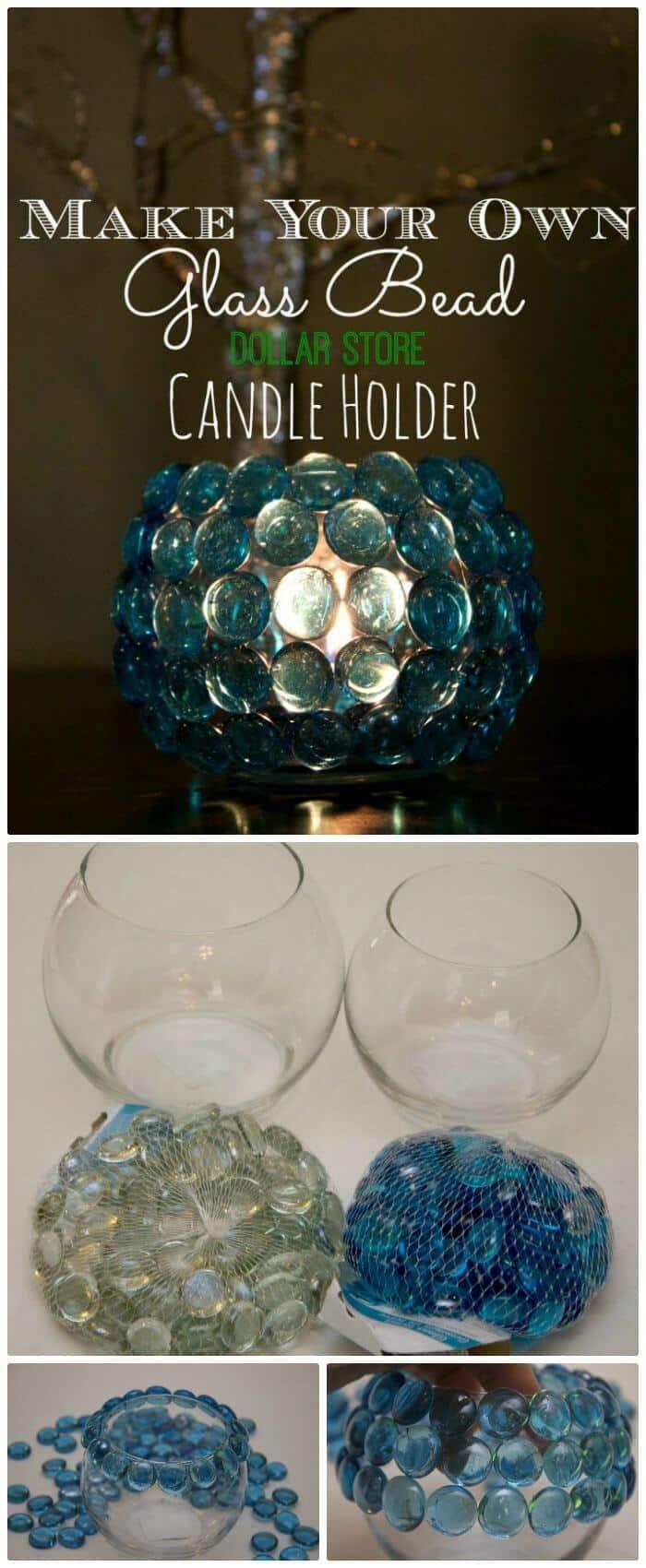 Florero de cuentas de vidrio de bricolaje con artículos de la tienda de dólar