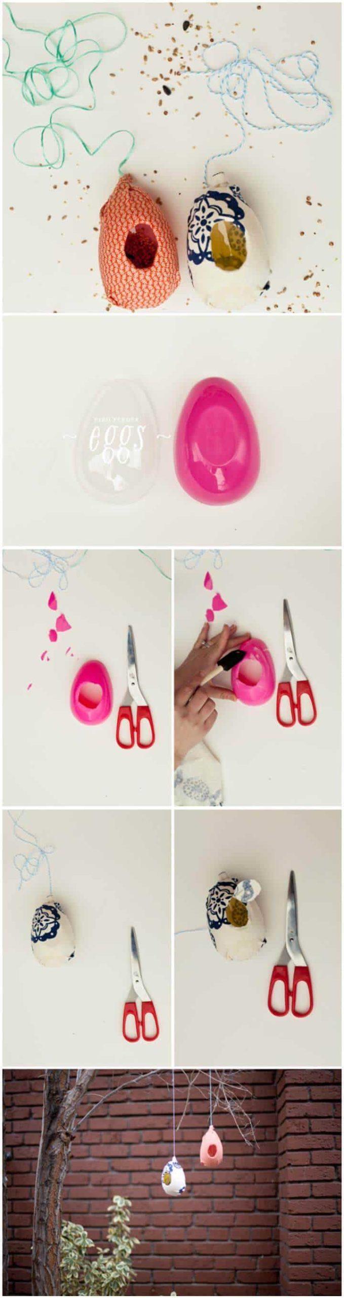 comedero para pájaros de huevos de plástico hecho a mano