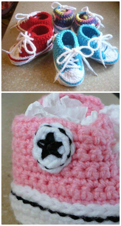 Patrón de botines Converse de bebé de ganchillo gratis