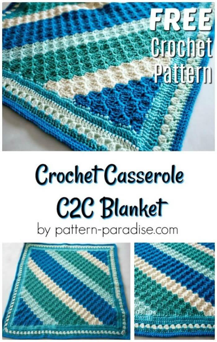 Manta DIY Crochet Casserole C2C, ¡guías fáciles para crochet c2c!