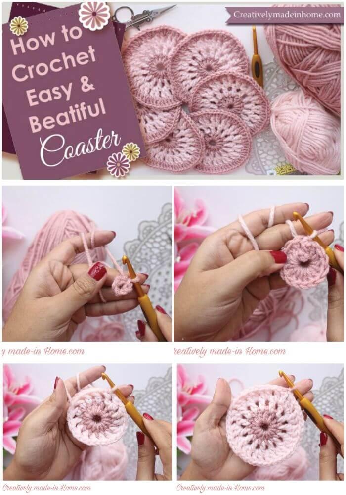 DIY Crochet Easy & Beautiful Coaster, patrones de posavasos de crochet fáciles y gratuitos para los amantes del crochet.  ¡Posavasos de crochet excepcionales para principiantes!