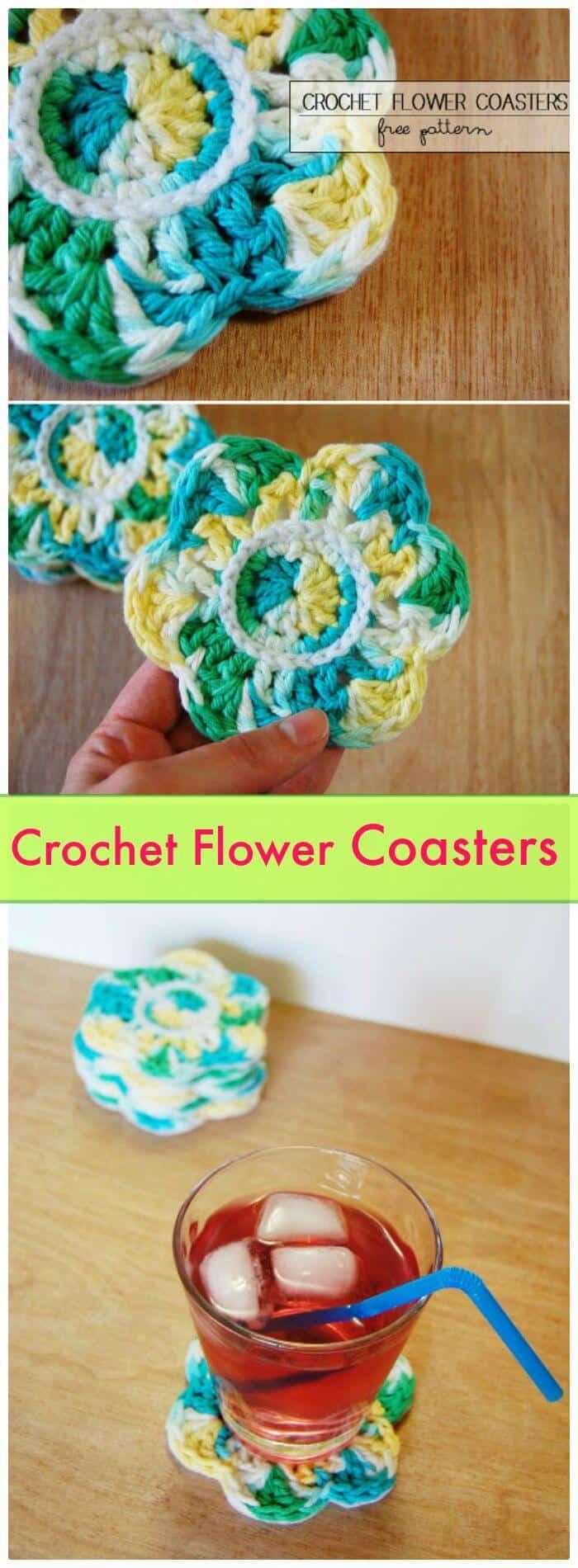 Posavasos de flores de ganchillo de bricolaje, patrones de posavasos de ganchillo gratis con tutoriales sencillos.  ¡Cómo tejer una montaña rusa para principiantes!