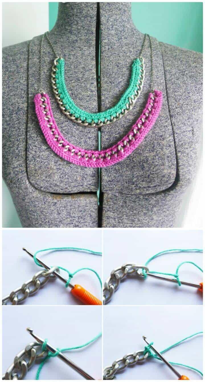 Patrón de collar de ganchillo gratis con tutorial