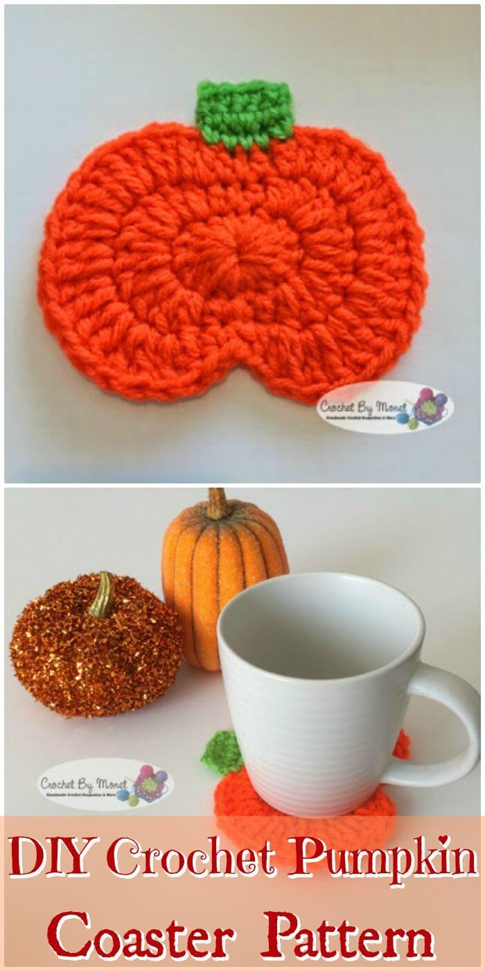 DIY Crochet Pumpkin Coaster Patrón de ganchillo sin patrón, hermosos patrones de posavasos de ganchillo gratis para principiantes.  Patrones de posavasos de ganchillo para principiantes!