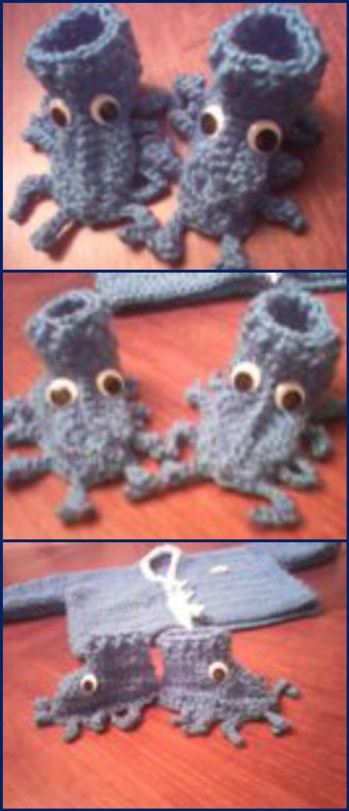 patrón de zapatos de criatura marina de ganchillo gratis