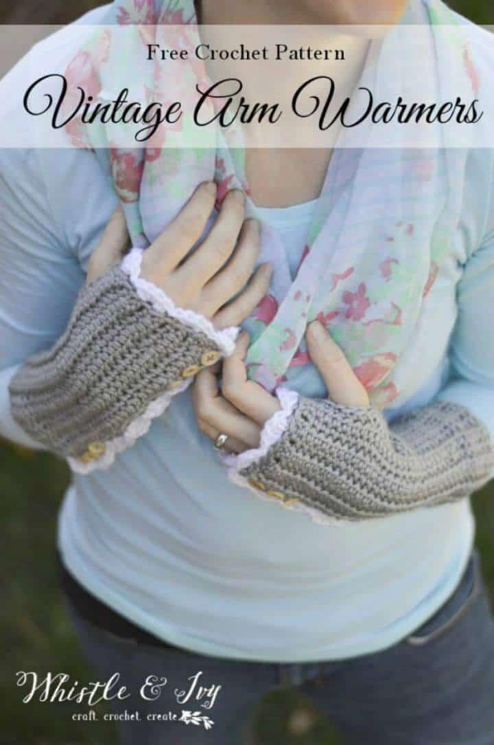Calentadores de brazo vintage de ganchillo con orificios para el pulgar