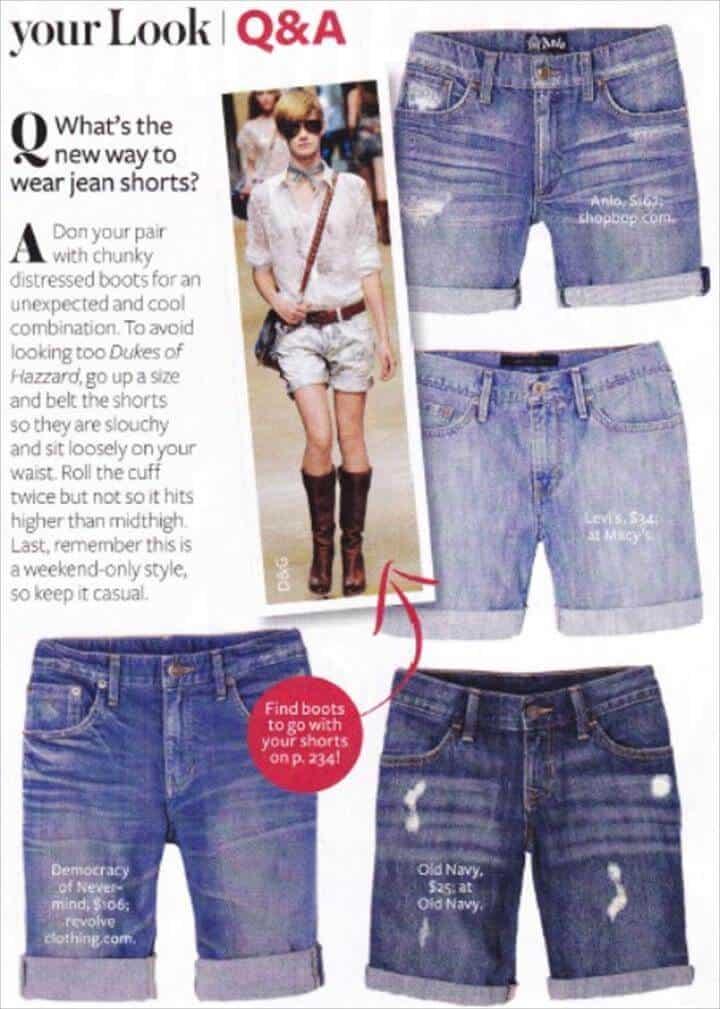 Pantalones cortos de verano con corte de mezclilla DIY
