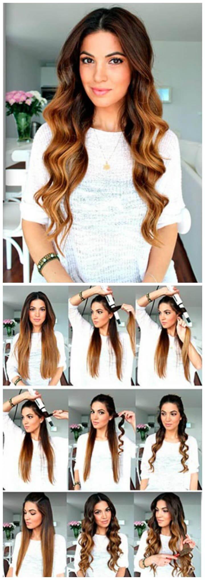 Peinado ondulado rizado de bricolaje