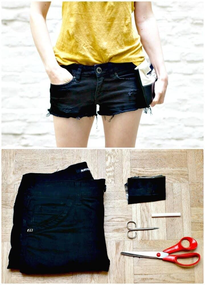 Pantalones cortos de jeans cortados con bricolaje: trajes para el verano