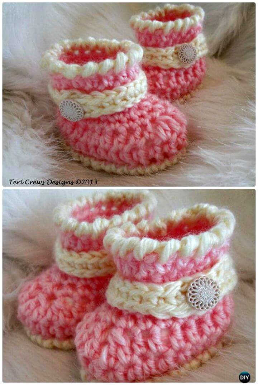 Patrón de botas de bebé lindo de ganchillo gratis