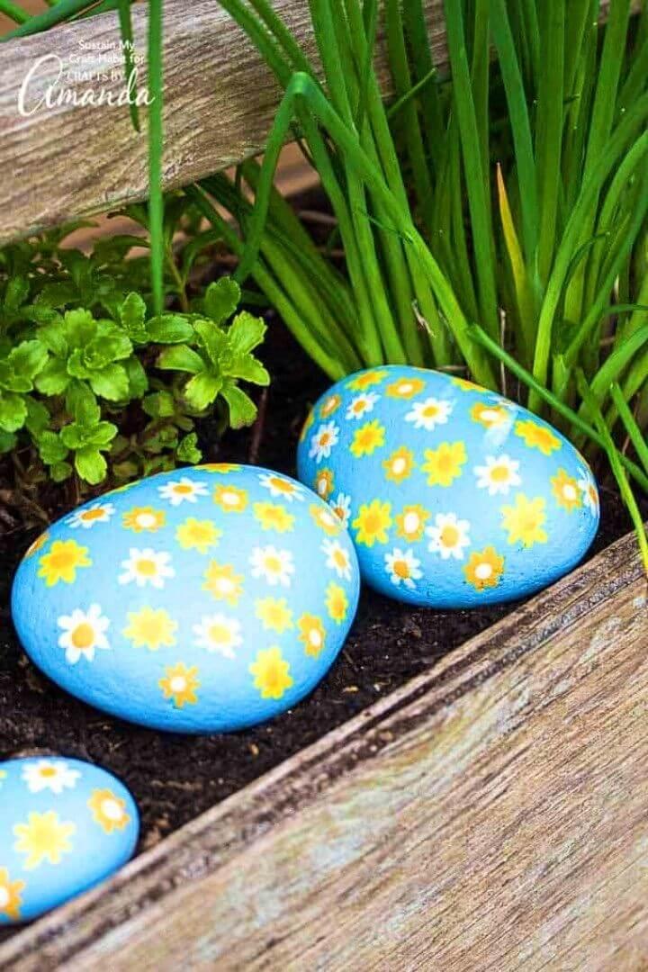 DIY Rocas pintadas con margaritas, flores pintadas sobre rocas,