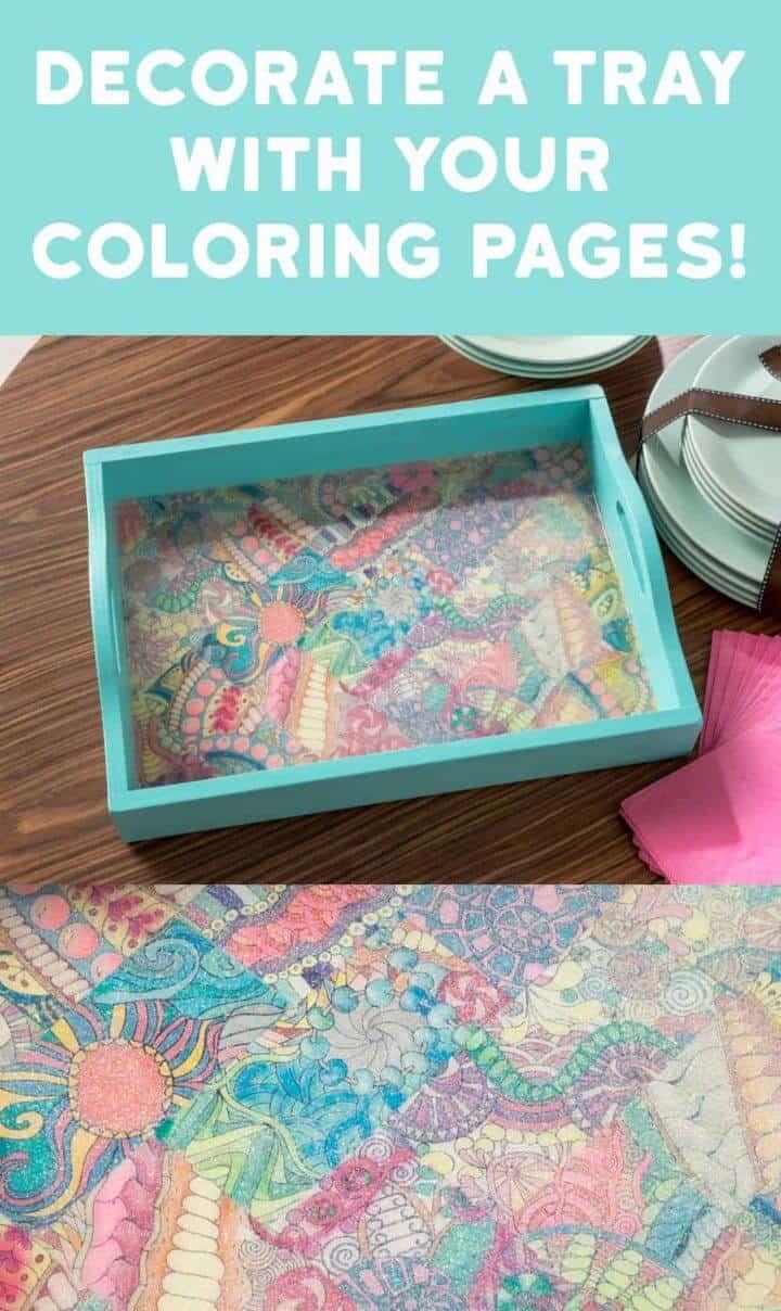 DIY decora una bandeja con páginas para colorear para adultos