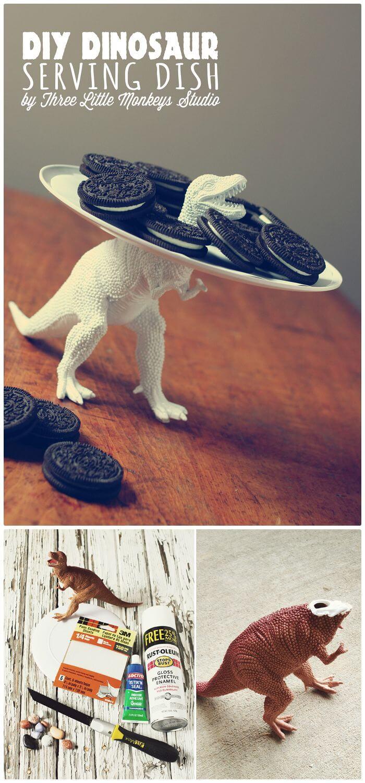Plato para servir de dinosaurio de bricolaje fácil - Dollar Store Crafts