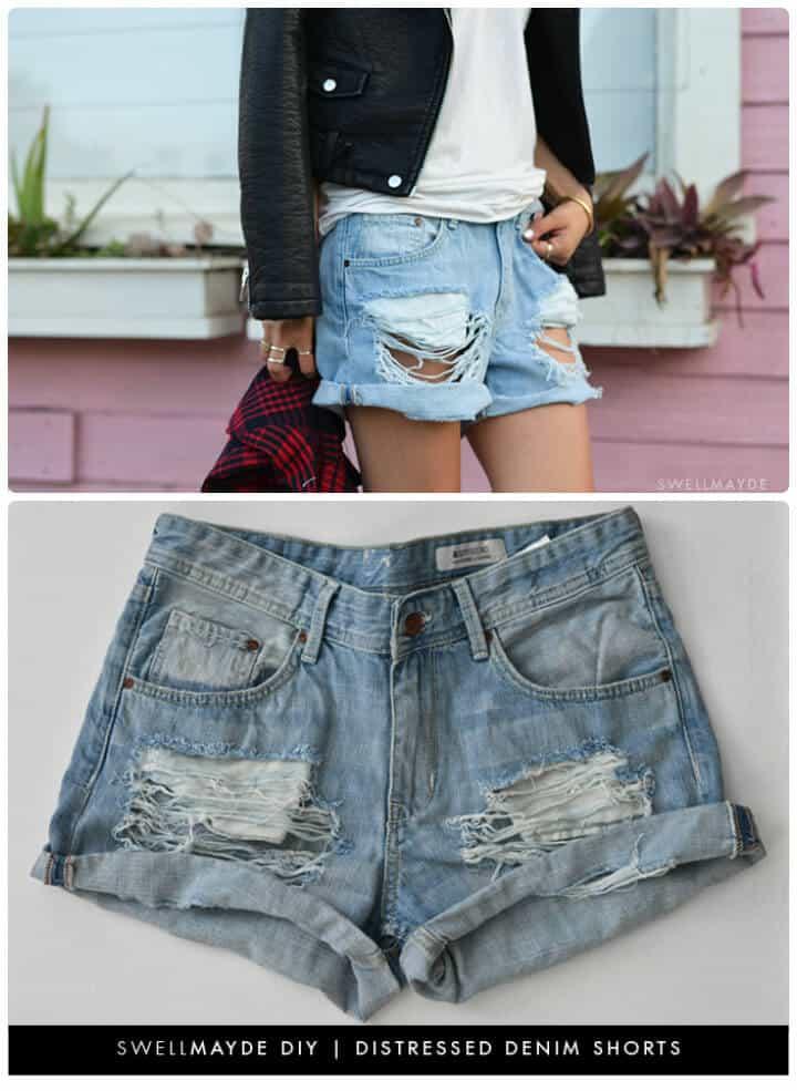 pantalones cortos de mezclilla desgastados con estilo