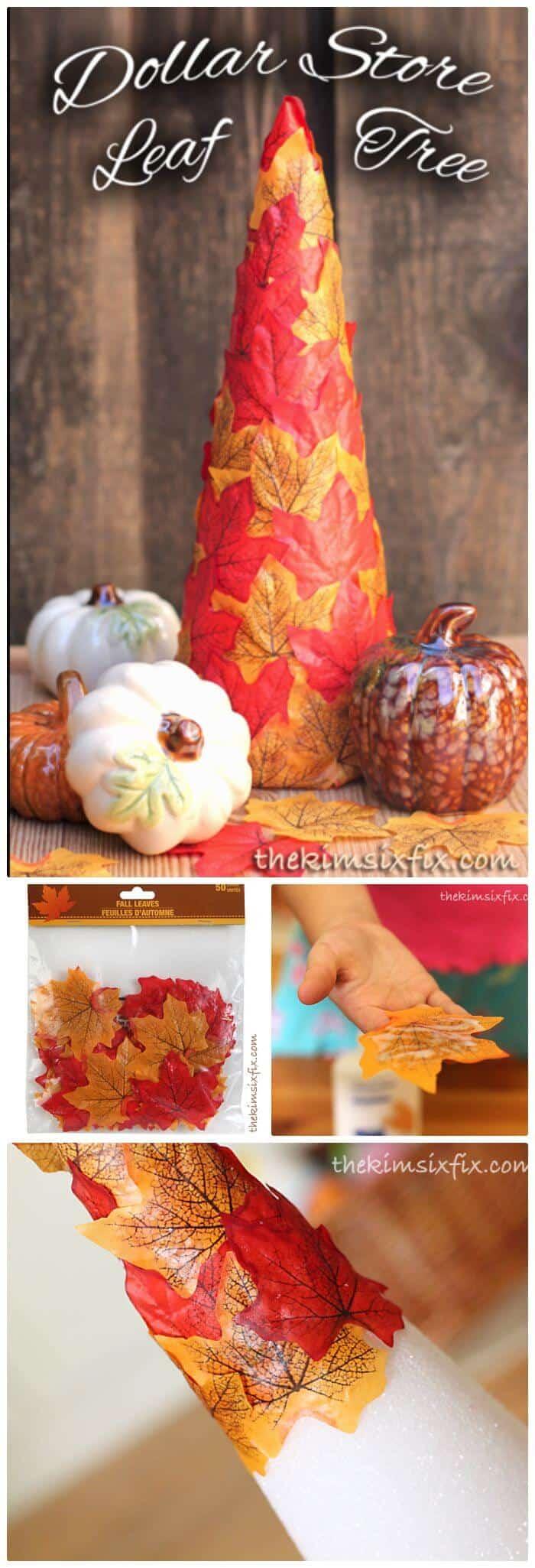 Árbol de hojas de otoño de la tienda de dólar fácil de bricolaje