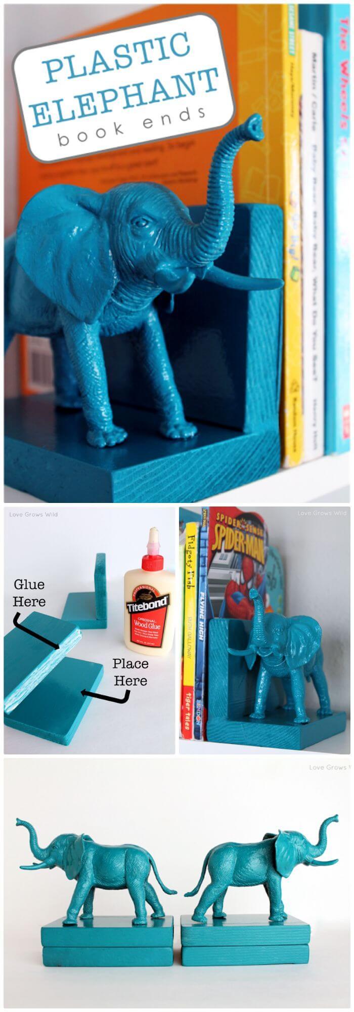 Extremos de libro de elefante de plástico Easy DIY Dollar Store