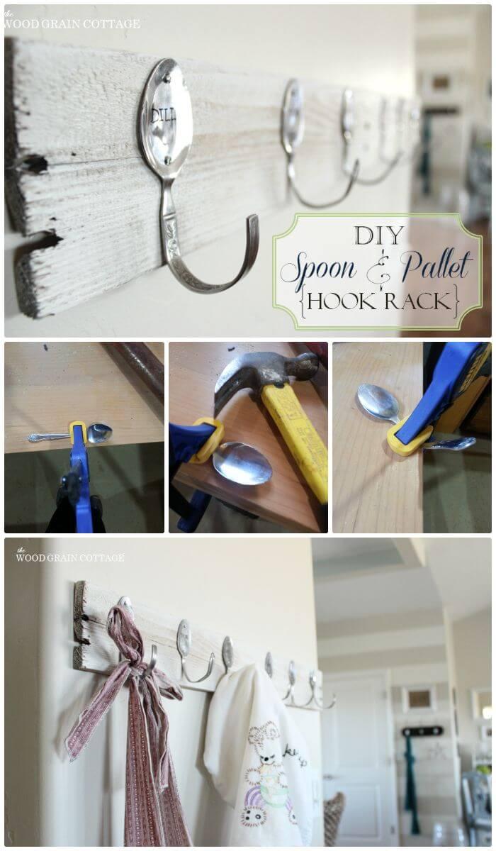 Estante de gancho para paletas y cucharas de tienda de bricolaje