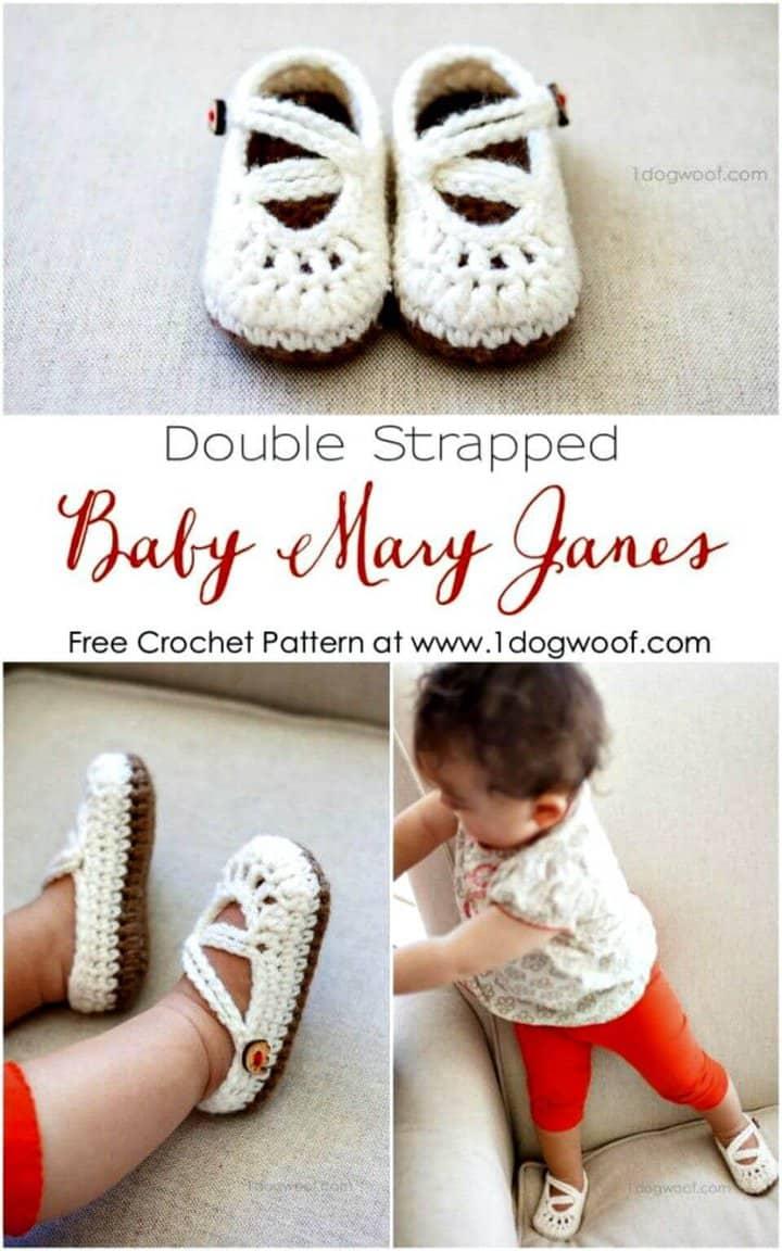 Patrón de crochet gratis para bebé Mary Janes de doble tirante
