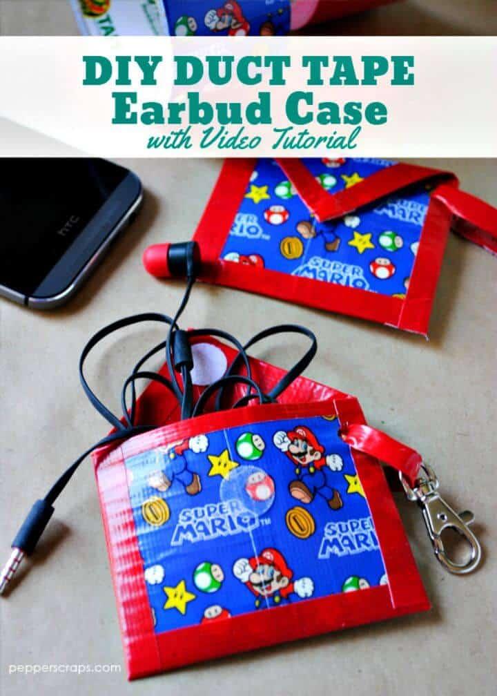 Estuche fácil para auriculares con cinta adhesiva para bricolaje