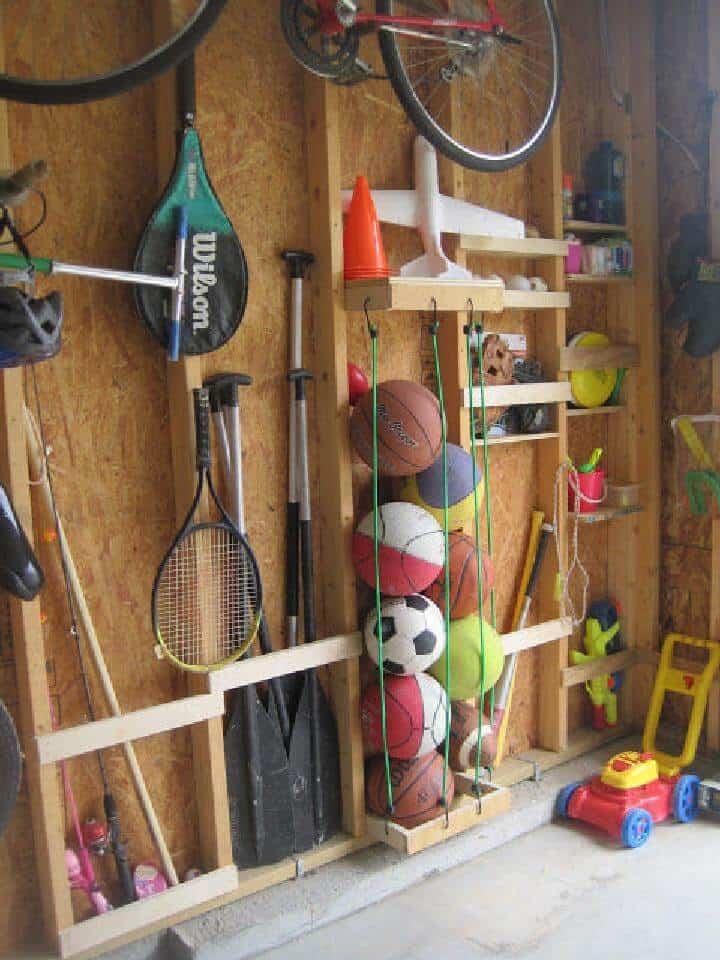 Organizador o soporte de bolas de cuerda elástica fácil de bricolaje
