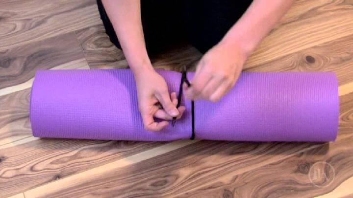Soporte para tapete de yoga con cordón elástico fácil de bricolaje
