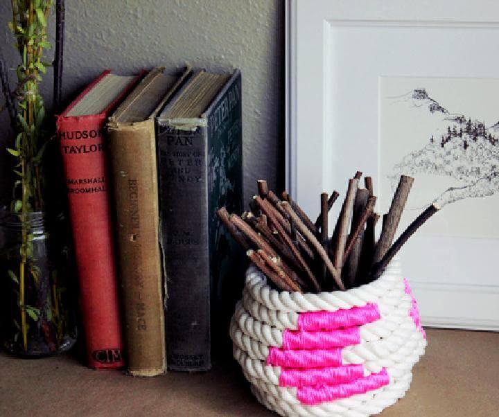 Cesta de cuerda enrollada de bloque de color fácil hecha a mano de bricolaje