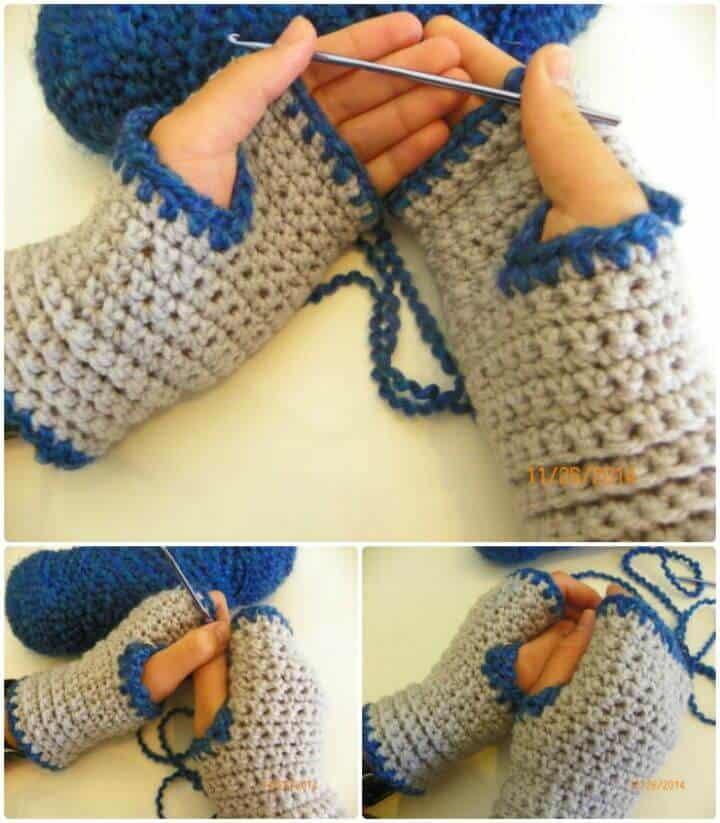 Guantes sin dedos de crochet fáciles y cómodos