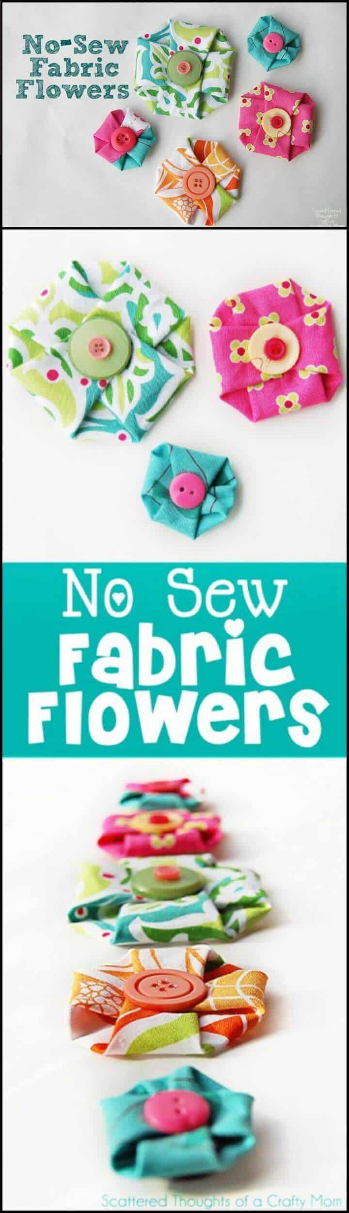 flores de tela fáciles sin coser