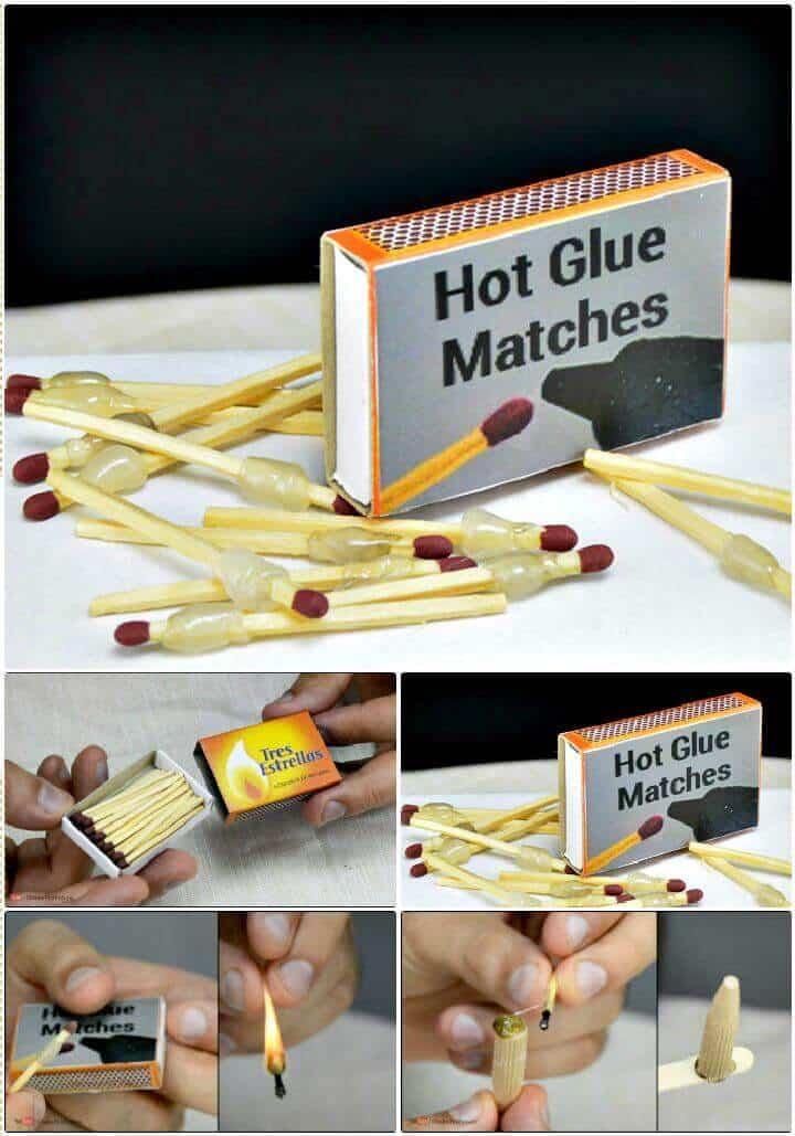 Fósforos de pegamento caliente sencillos y sencillos de bricolaje