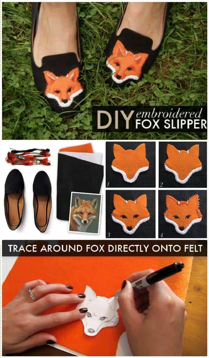 Zapatillas bordadas de bricolaje