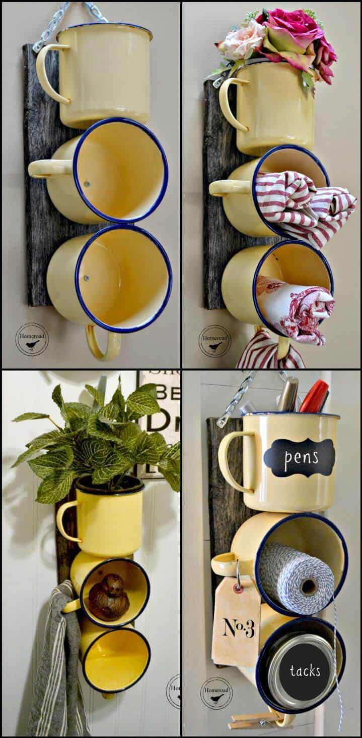 organizador de tazas de esmalte reutilizado