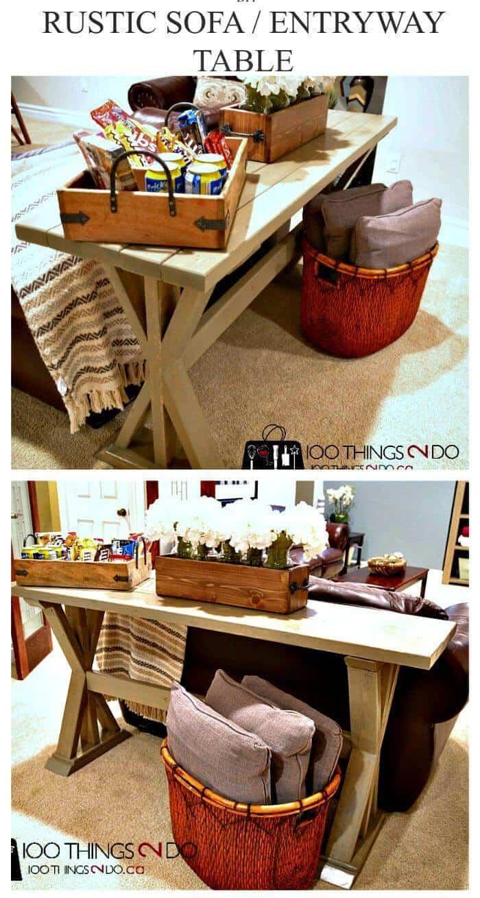 Mesa de entrada de bricolaje o mesa de sofá