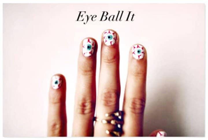 DIY Eyeball Nails - Tutorial de instrucciones sencillas
