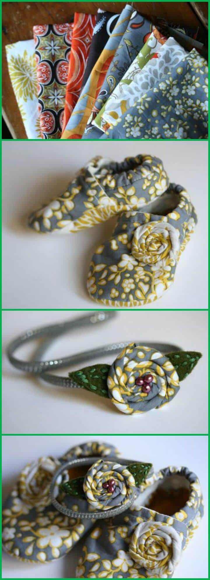 Conjunto de diadema y patucos de tela hechos a sí mismos