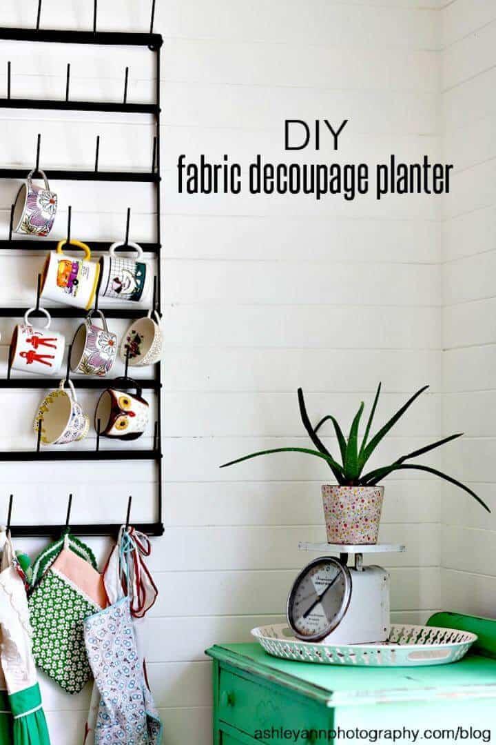 Jardinera de decoupage de tela de bricolaje