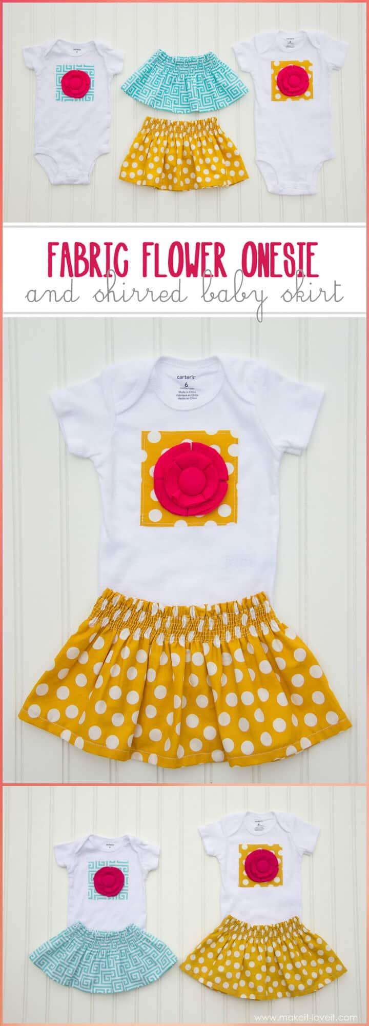 Body de flores de tela de bricolaje y falda de bebé fruncida