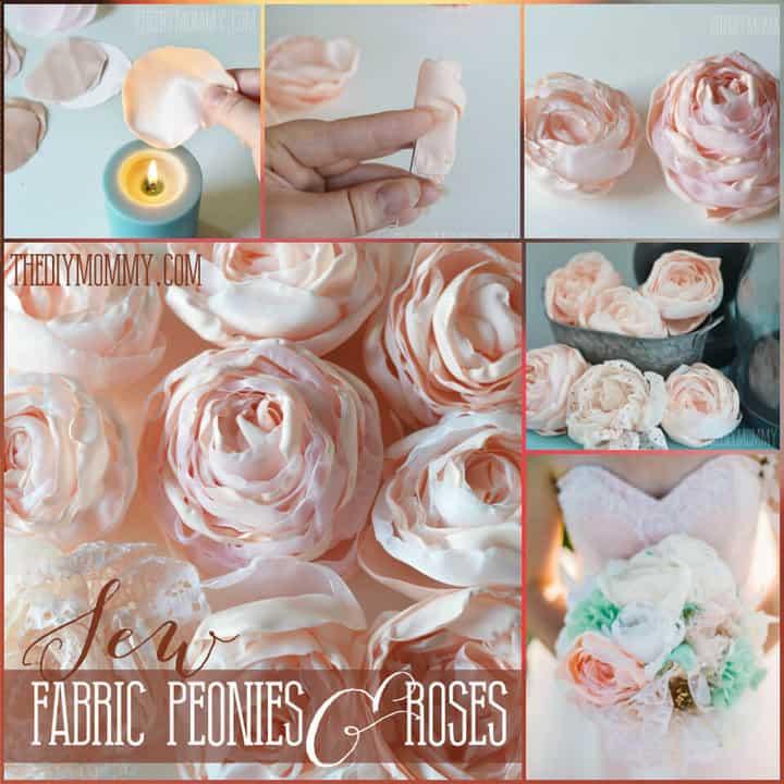 rosas de tela hechas a mano y peonías de repollo