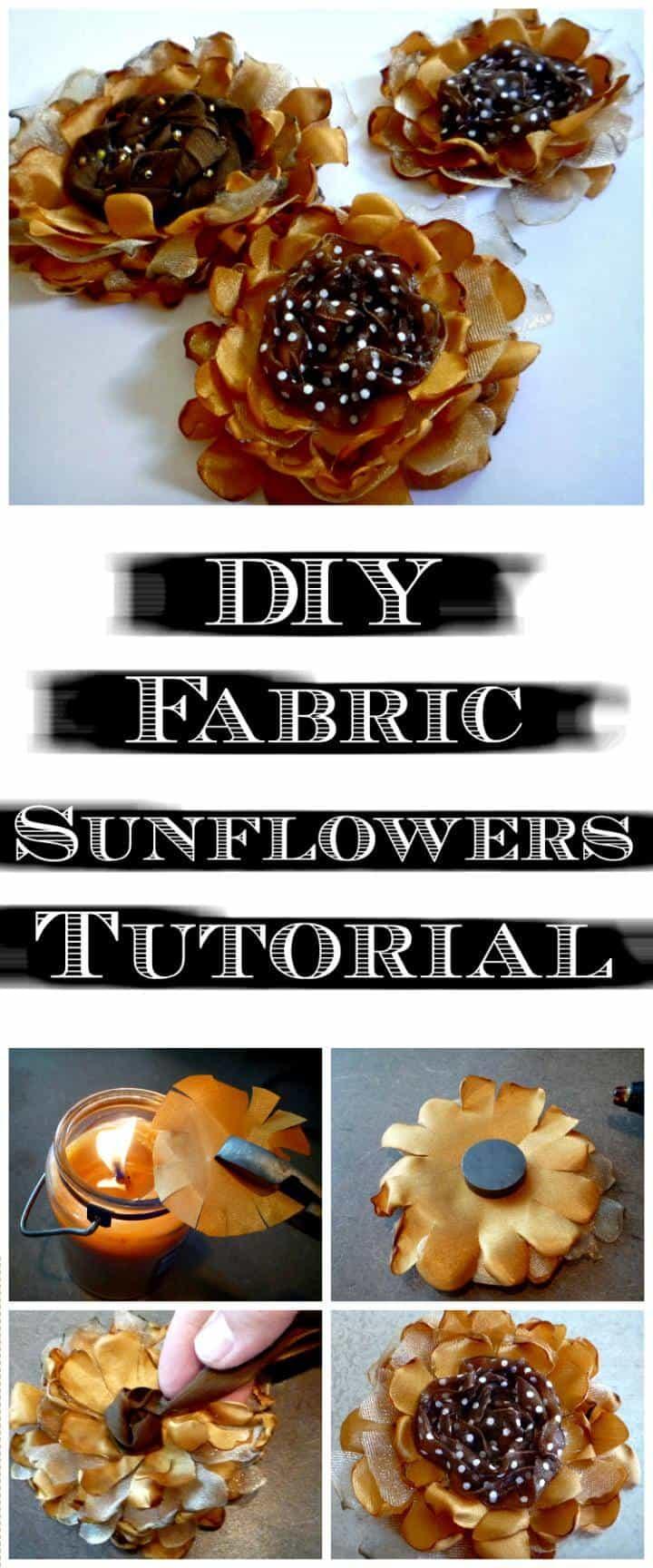 tutorial de girasoles de tela artesanal