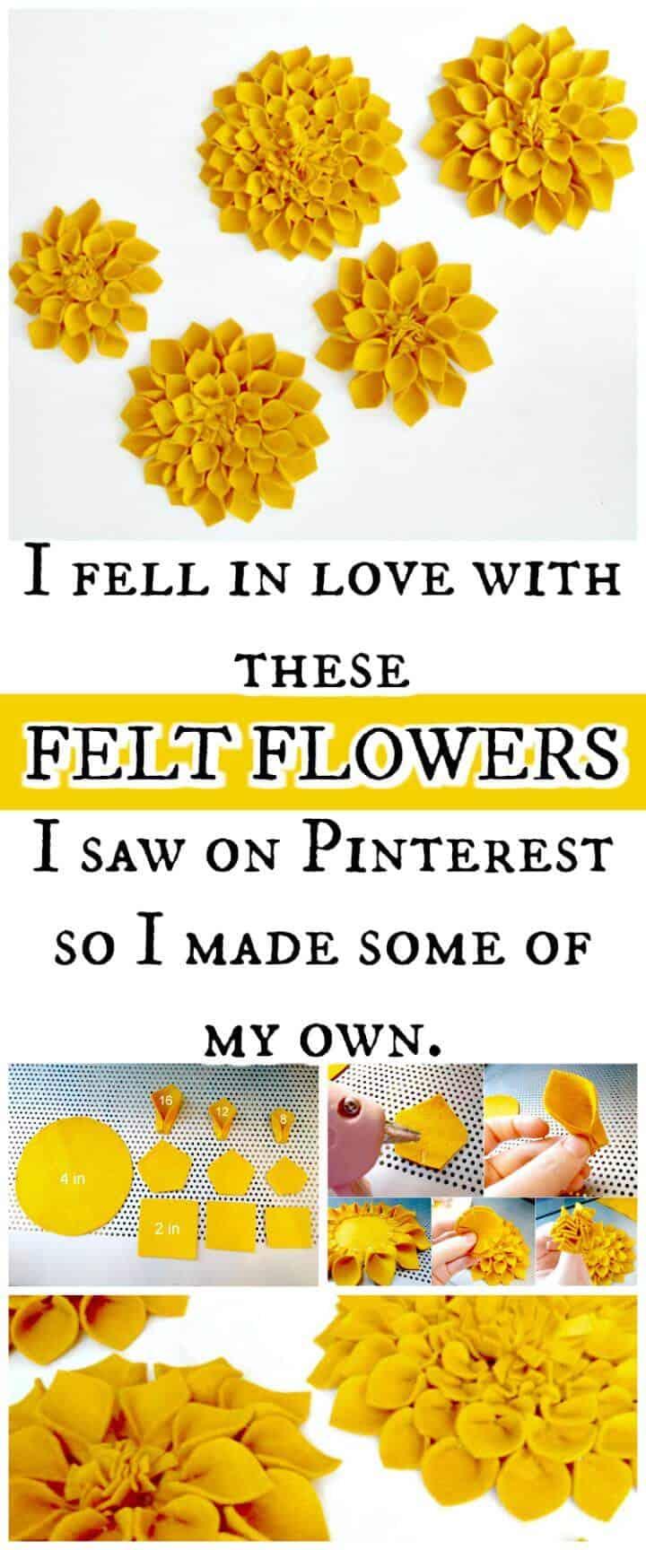 flores de fieltro sintético fáciles pero hermosas